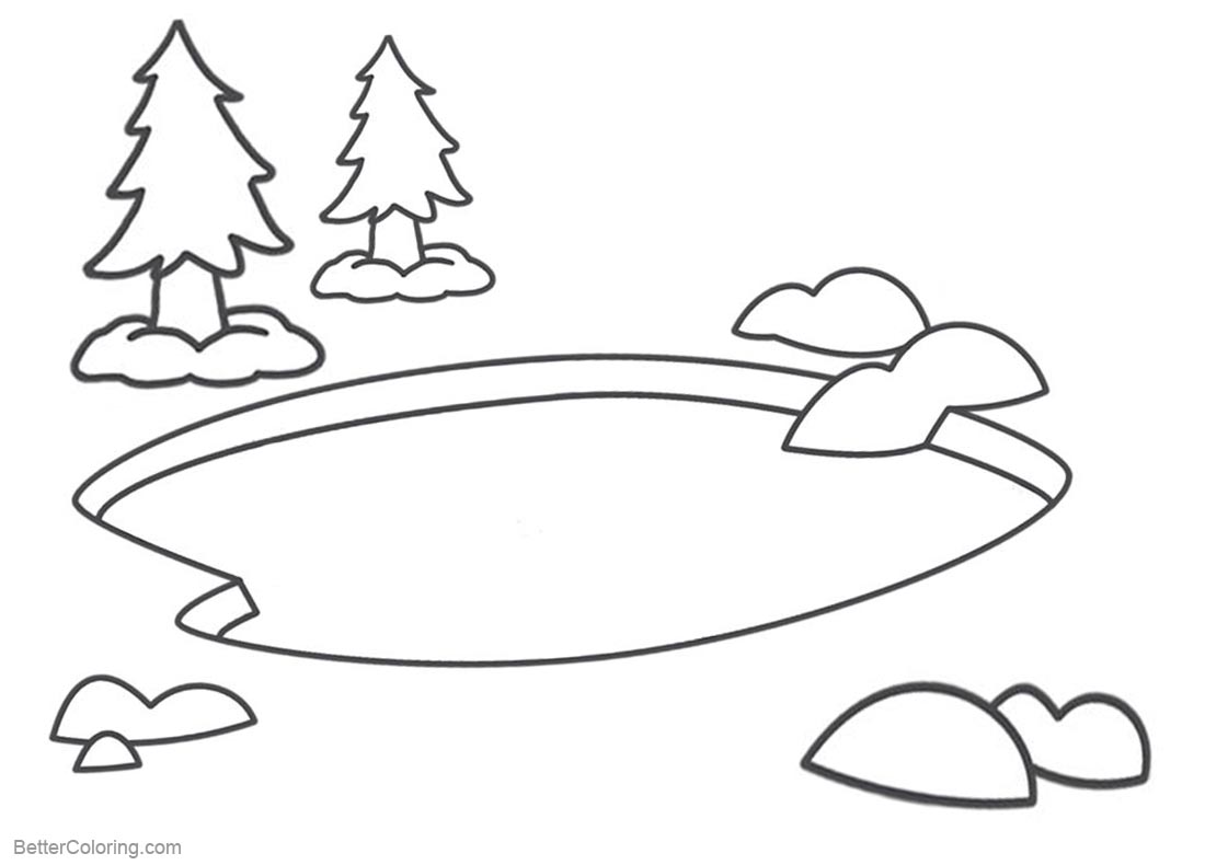 Pond Coloring Pages Simple Clipart printable for free