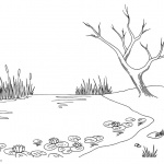 Pond Coloring Pages Tree Lily Pad and Cattails