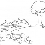 Pond Coloring Pages with A Tree