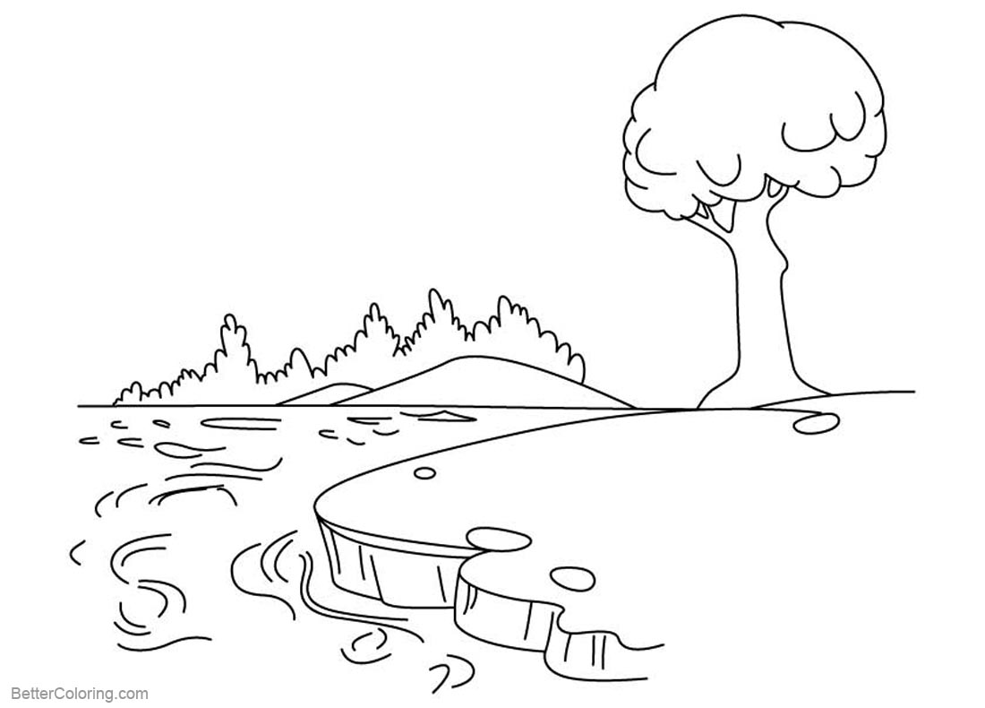 Pond Coloring Pages with A Tree printable for free