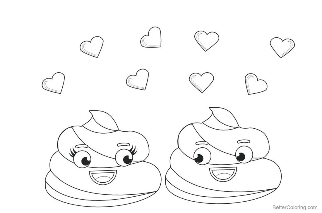 Poop emoji coloring pages with love heart free printable for Emoji coloring pages to print