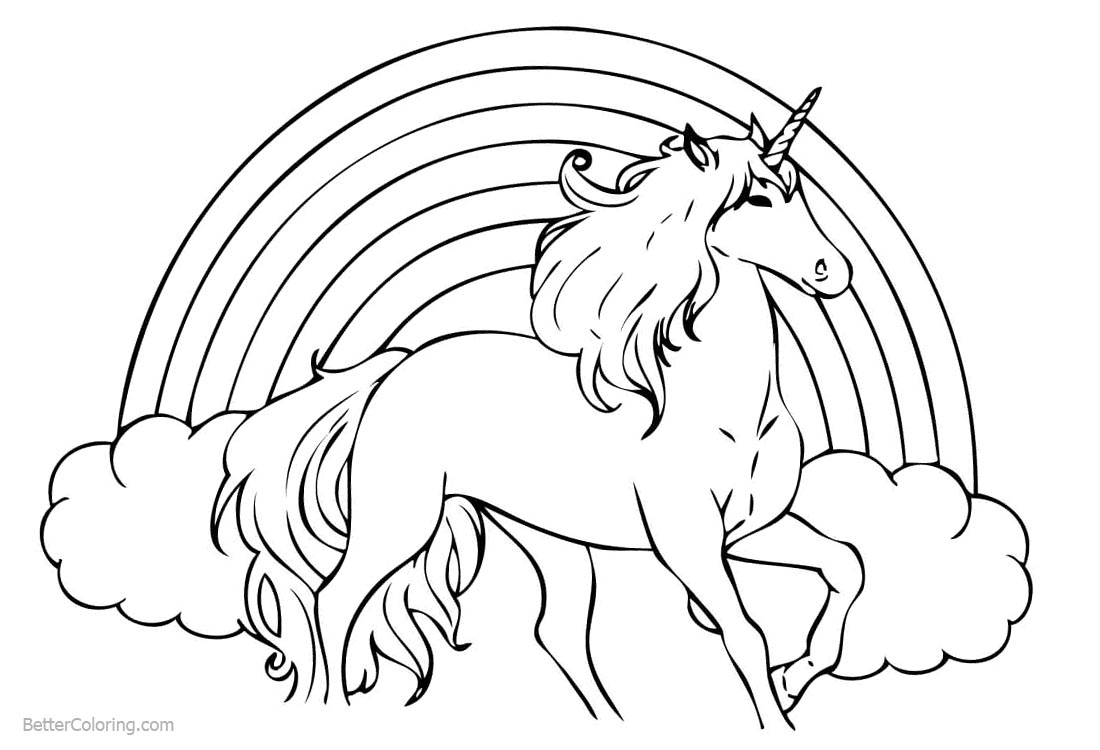 Unicorn And Rainbow - Free Colouring Pages