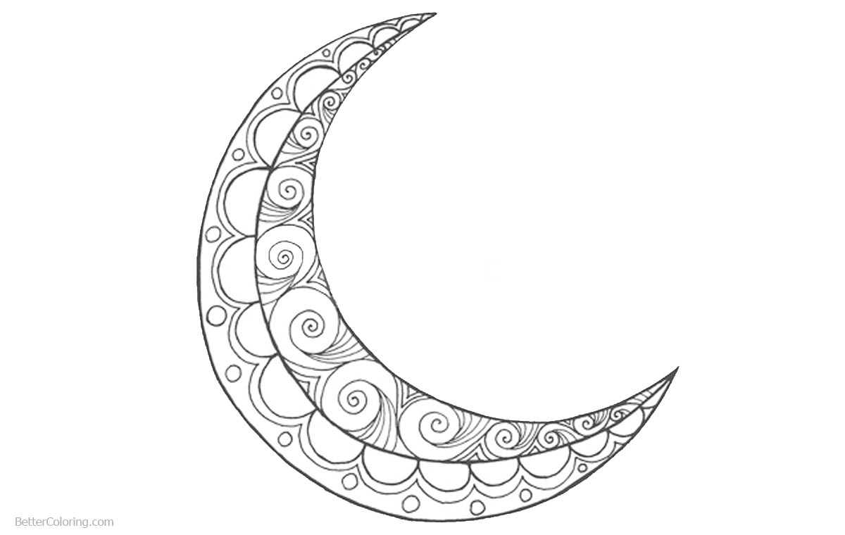 Ramadan Coloring Pages Crescent printable for free