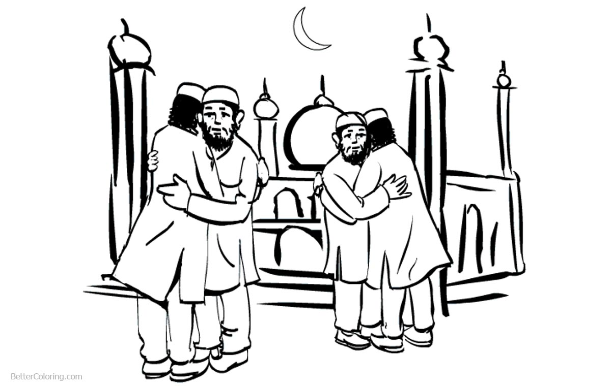 Ramadan Coloring Pages Hand Drawing printable for free