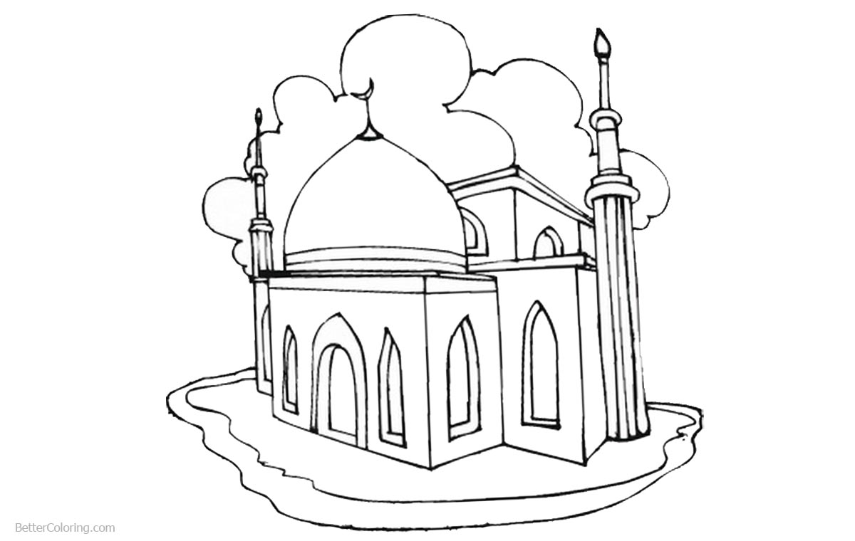 Ramadan Coloring Pages Mosque printable for free