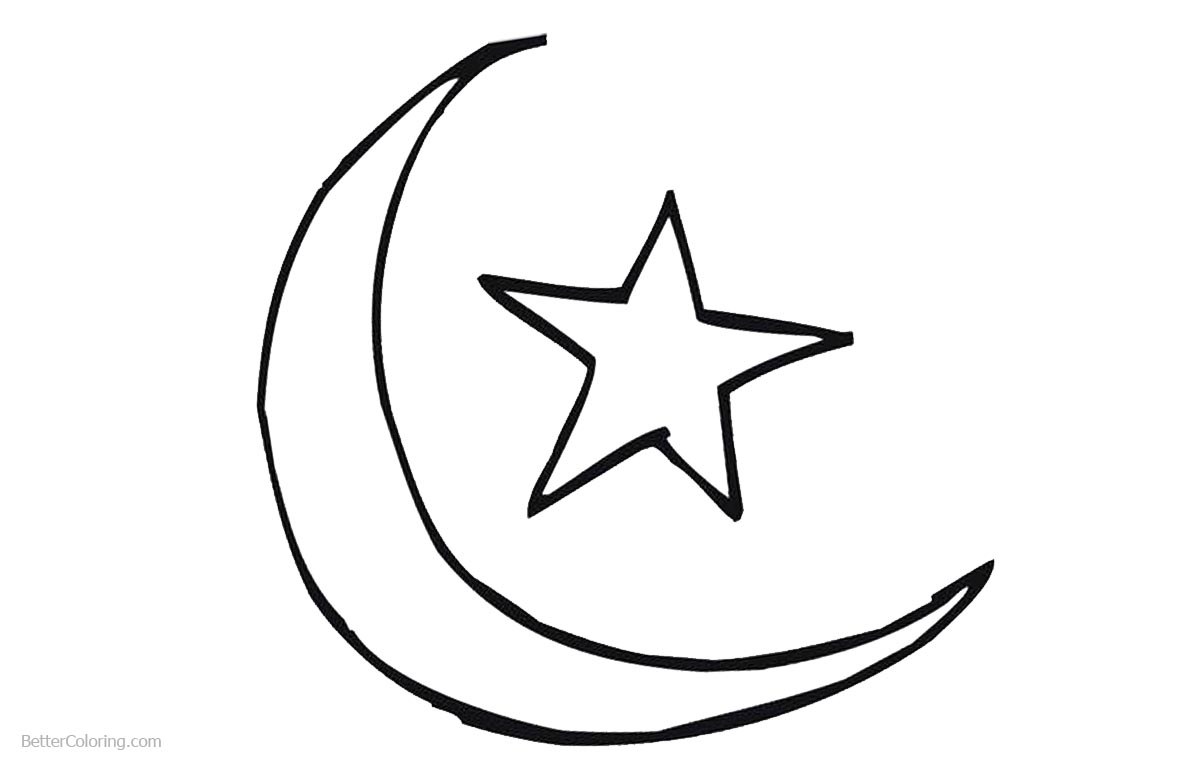 Ramadan Coloring Pages Star and Moon - Free Printable Coloring Pages