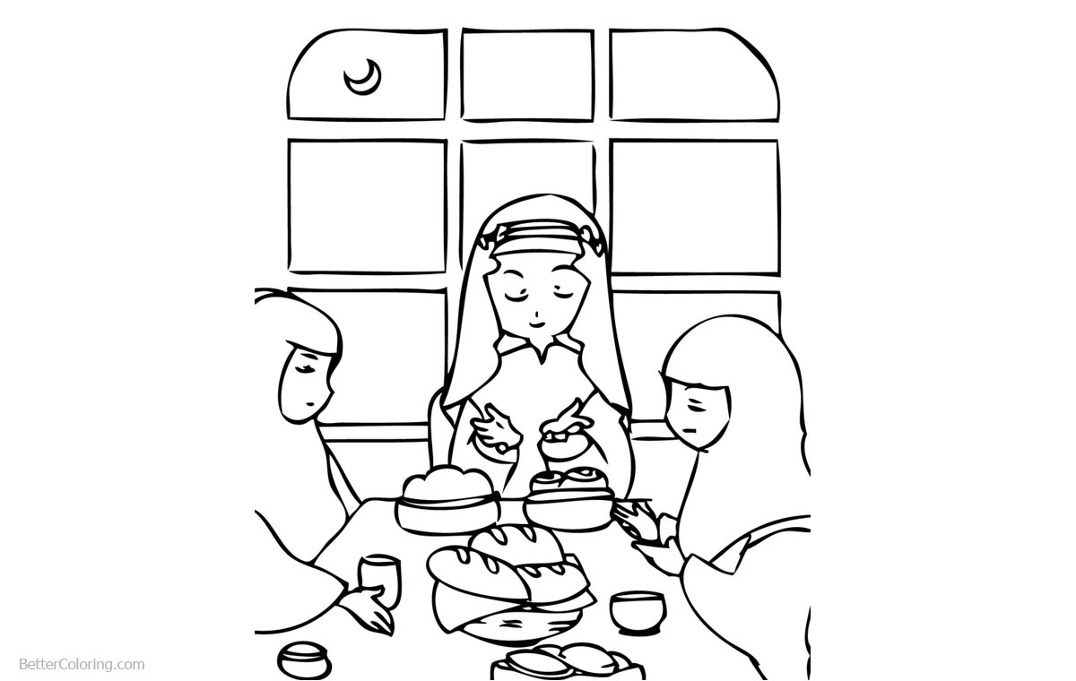 Ramadan Coloring Pages Women With Crescent Free Printable Coloring