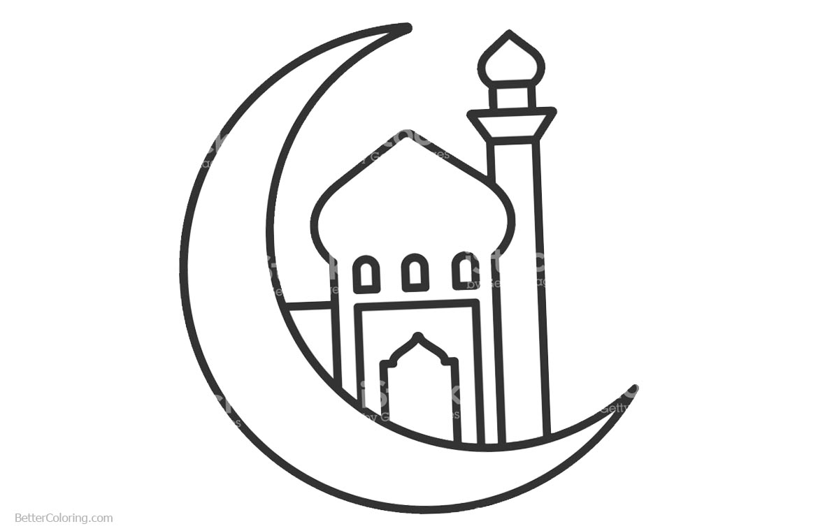Ramadan Kareem Coloring Pages Clipart printable for free