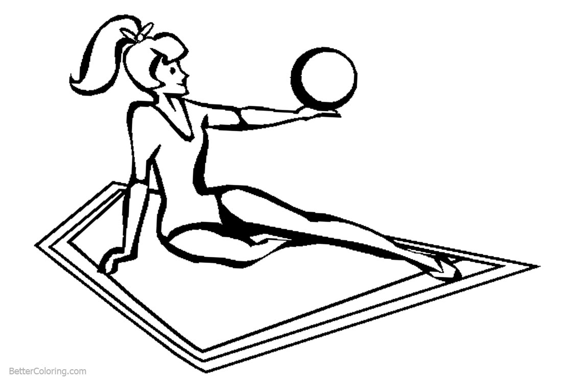 Rhythmic Ball from Gymnastics Coloring Pages printable for free