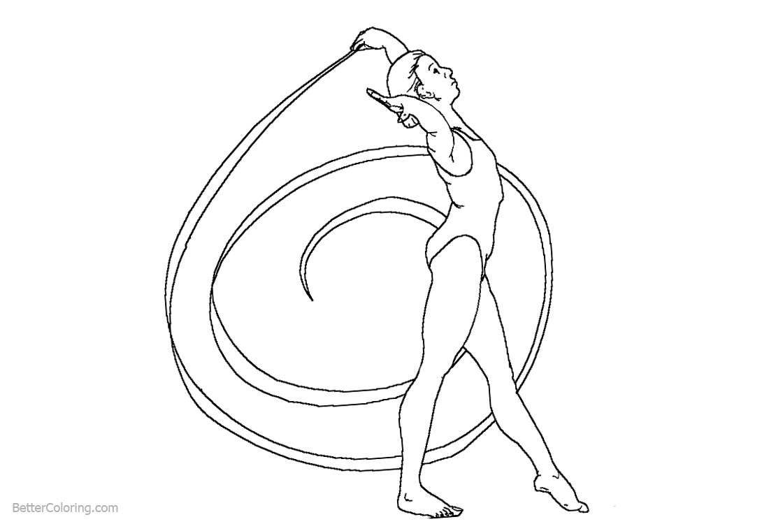 Rhythmic Ribbon From Gymnastics Coloring Pages Free Printable
