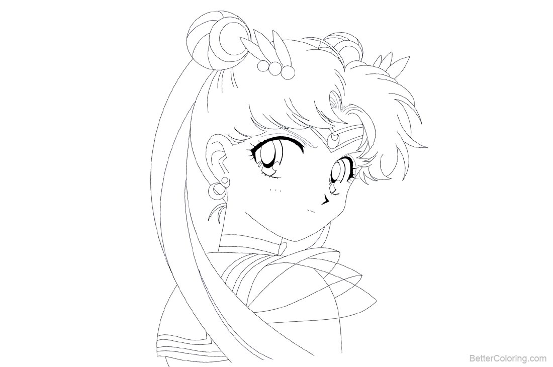 Sailor Moon Coloring Pages Line Drawing Black and White - Free ...