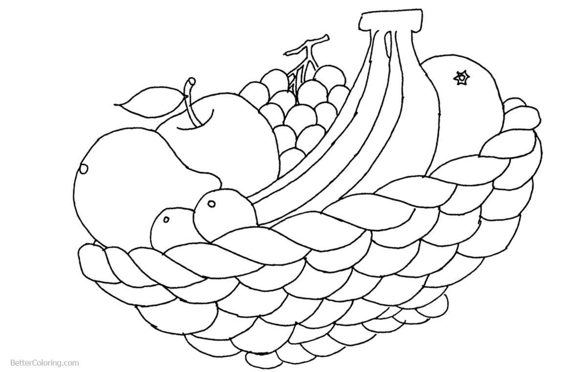 Shavuot Coloring Pages Apple Banana Grape and Orange - Free ...