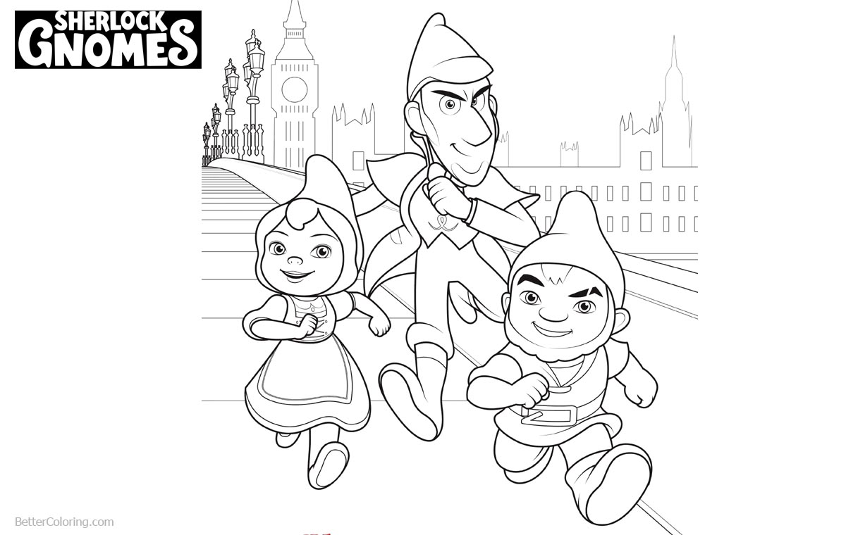 Sherlock Gnomes Characters Coloring Pages printable for free
