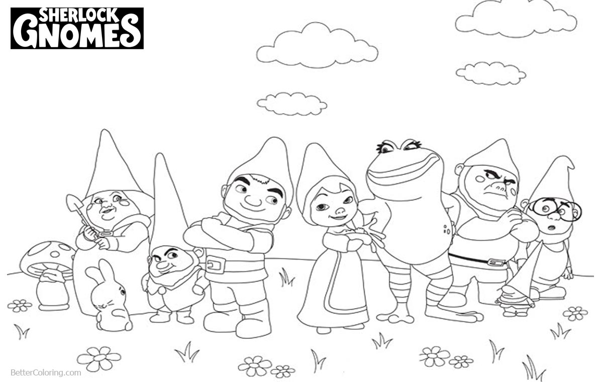 Sherlock Gnomes Coloring Pages Characters Lineart printable for free