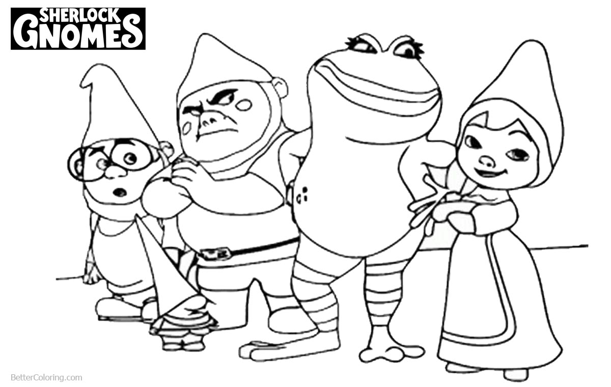 Sherlock Gnomes Coloring Pages Characters printable for free