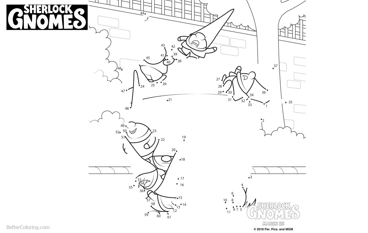 Sherlock Gnomes Coloring Pages Connetct the Dots printable for free