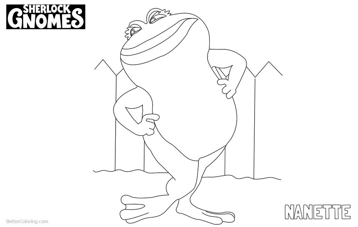 Sherlock Gnomes Coloring Pages Frog Nanette printable for free
