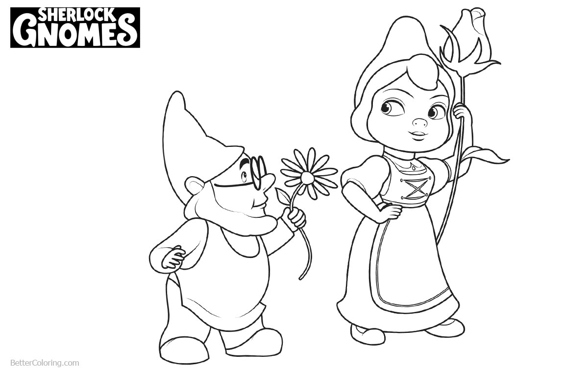 Sherlock Gnomes Coloring Pages Gnomeo Give Juliet A Flower printable for free