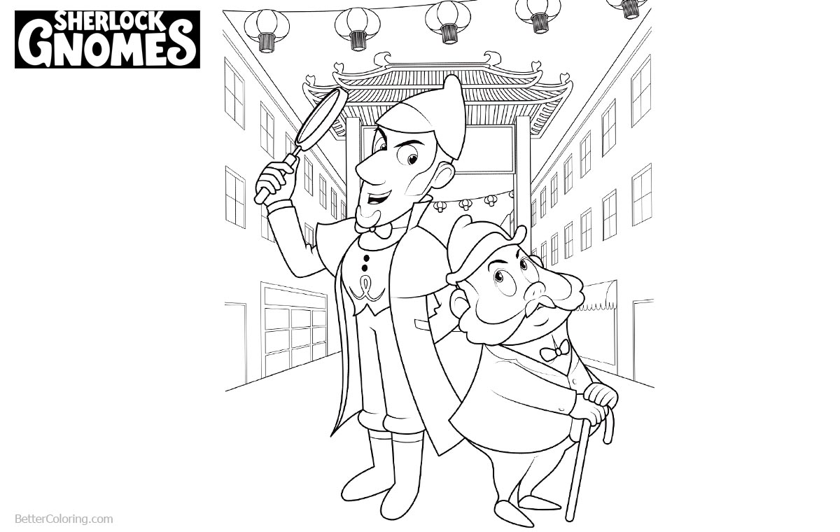 Sherlock Gnomes Coloring Pages Gnomeo Watson and Sherlock printable for free