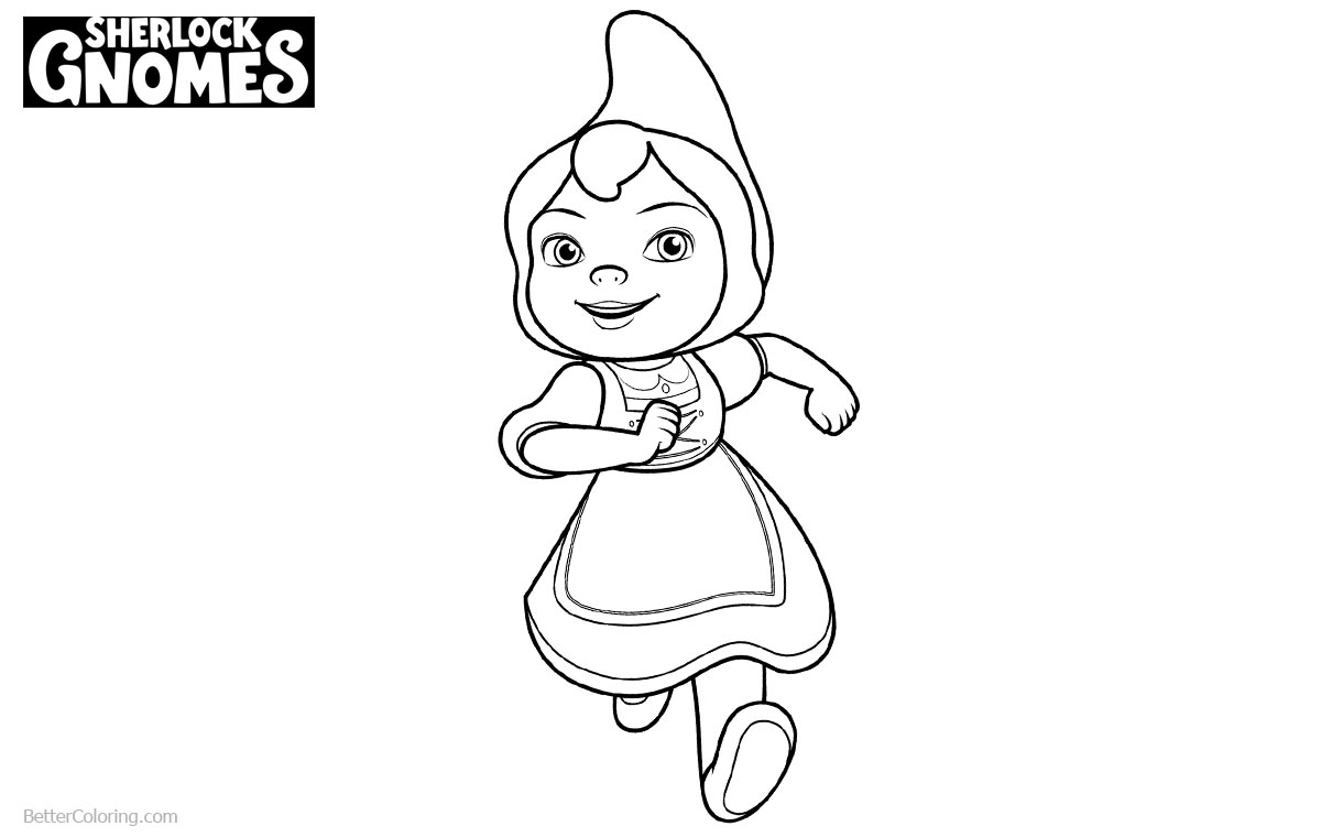 Sherlock Gnomes Coloring Pages Juliet Line Drawing printable for free