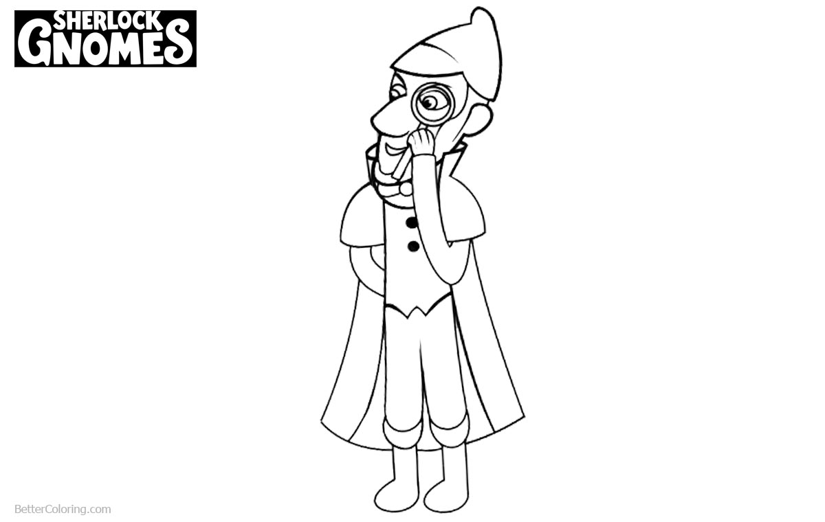 Sherlock Gnomes Coloring Pages Line Art printable for free