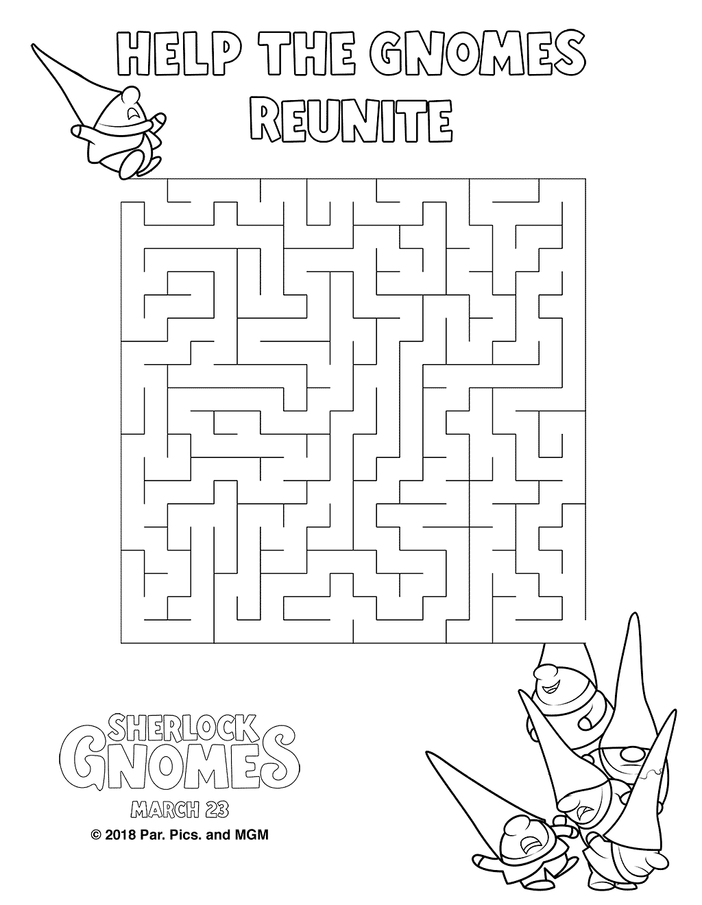Sherlock Gnomes Coloring Pages Maze printable for free
