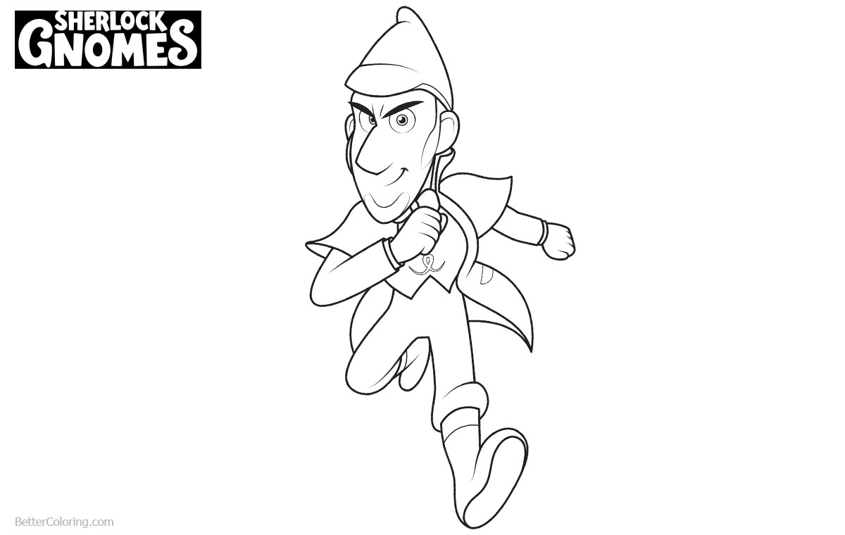 Sherlock Gnomes Coloring Pages Running printable for free