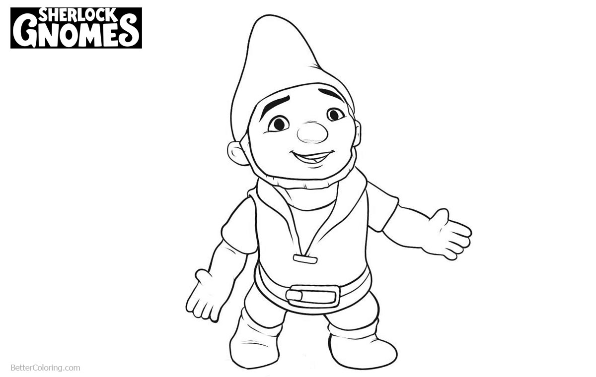 Sherlock Gnomes Gnomeo Coloring Pages Line Drawing printable for free