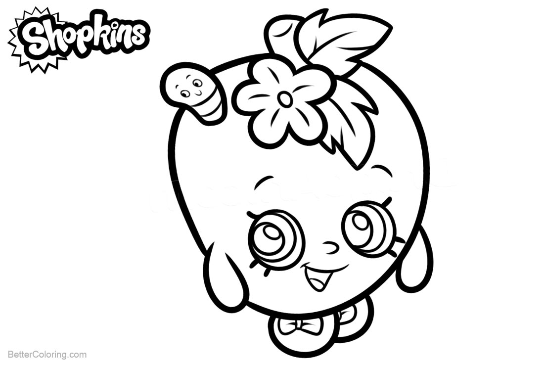 Shopkins Coloring Pages Apple Blossom Lineart Free