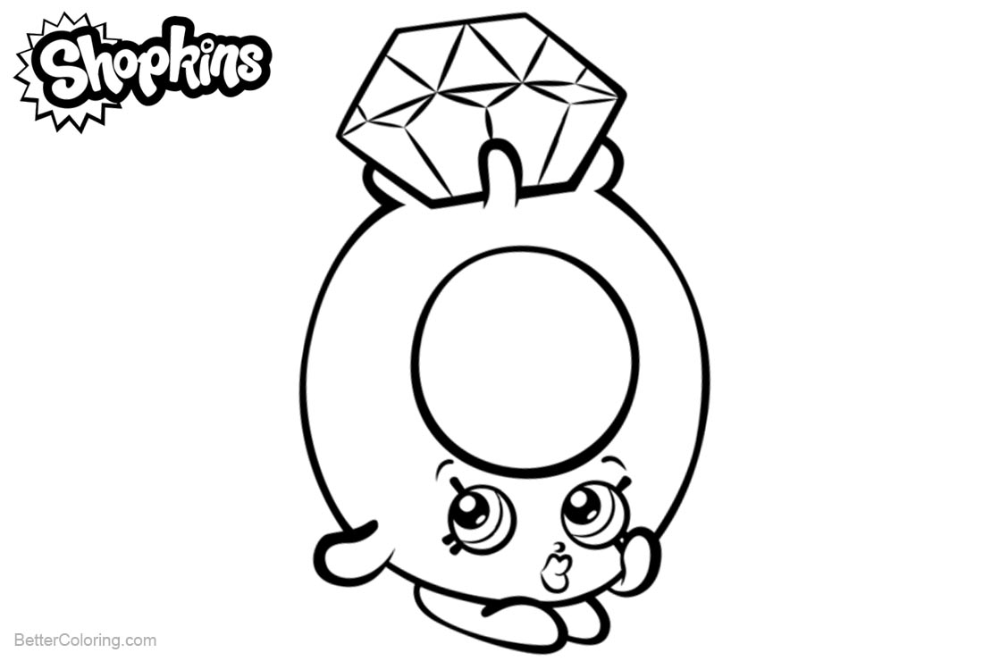 Shopkins Coloring Pages Diamond Roxy Ring printable for free