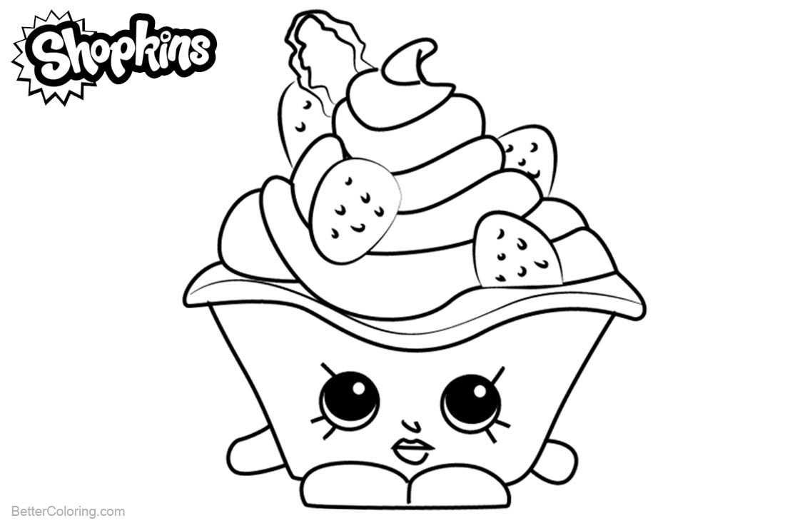 Shopkins Coloring Pages Strawberries and Cream printable for free