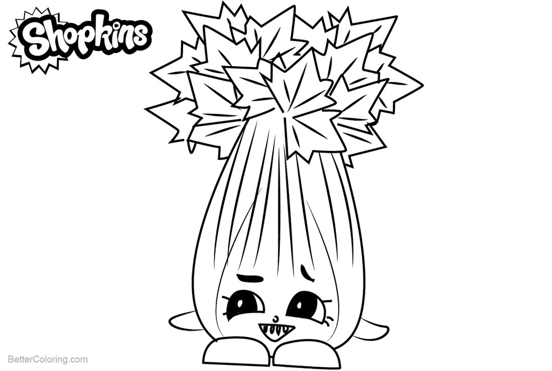 Shopkins Coloring Pages Super Celery printable for free