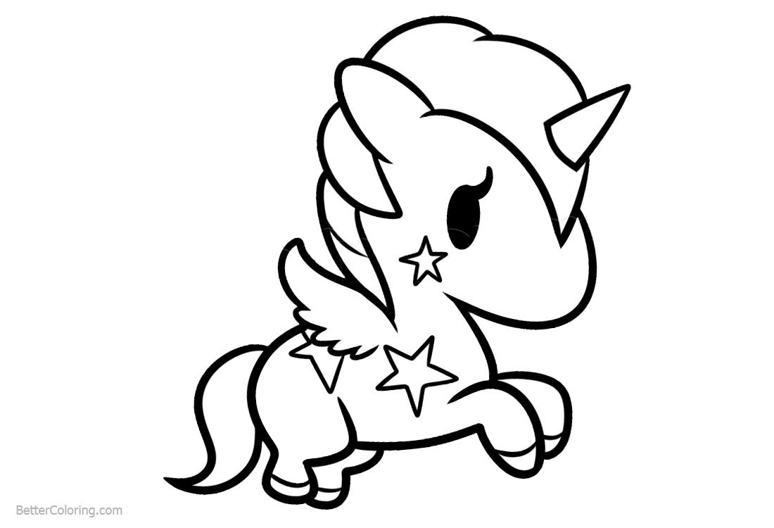 Simple Chibi Unicorn Coloring Pages Free Printable