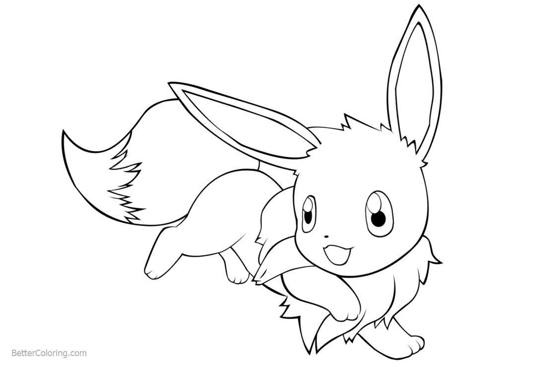 Simple Eevee Coloring Pages printable for free
