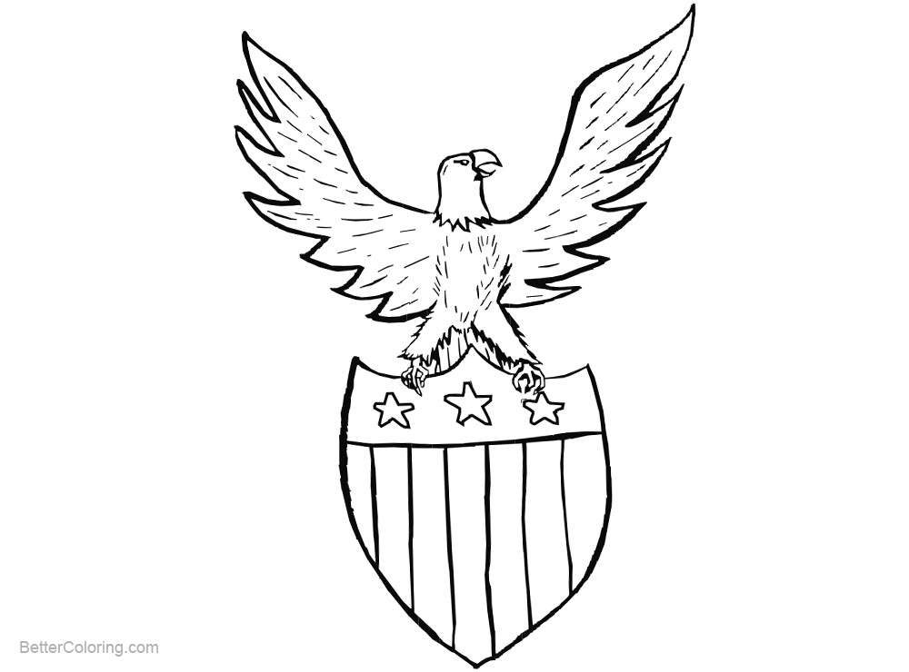 Free Simple Patriotic Coloring Pages Eagle printable