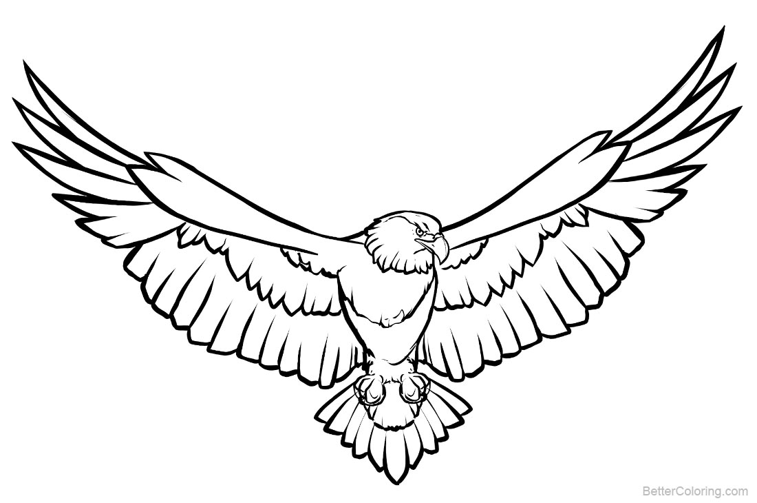 Soaring Eagle Coloring Pages Line Art printable for free