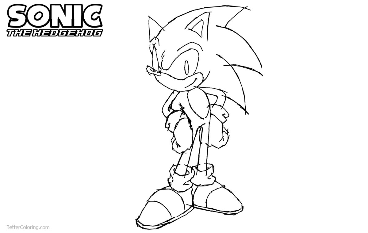 Sonic The Hedgehog Coloring Pages Hand Drawing by gladosheroes2000 printable for free