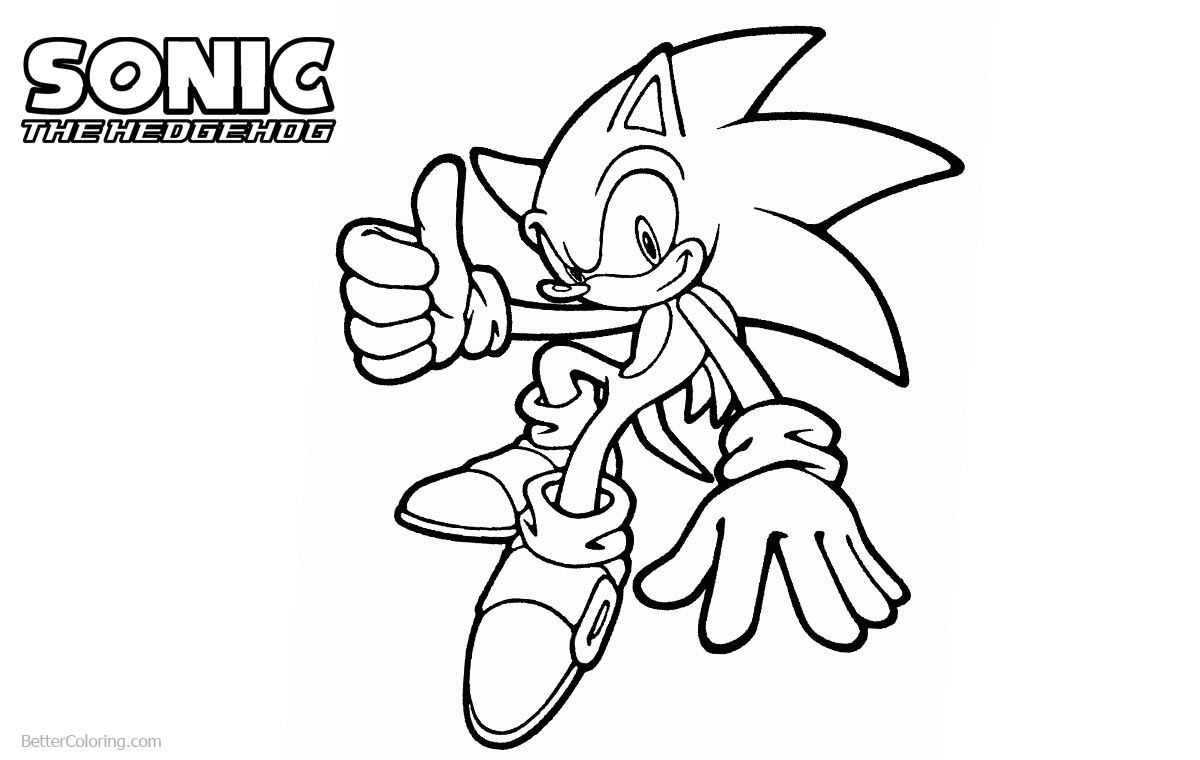 Sonic The Hedgehog Coloring Pages Line Drawing printable for free