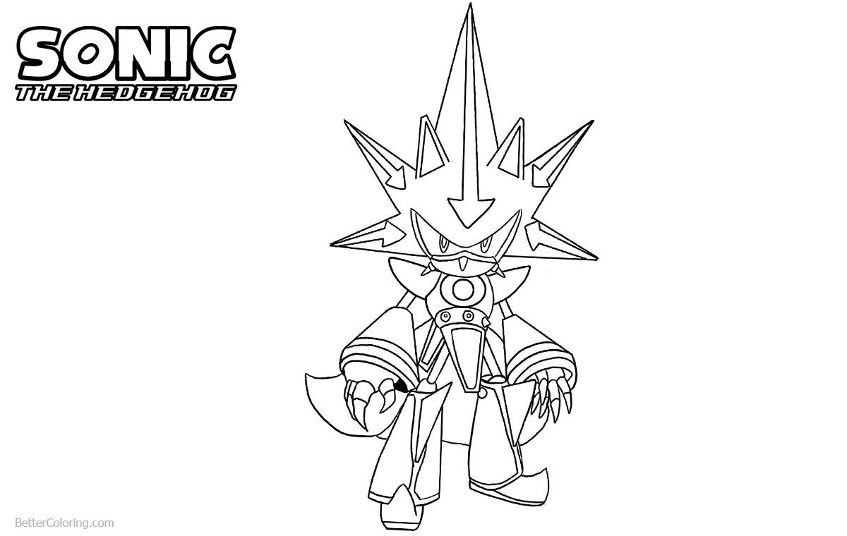 Sonic The Hedgehog Coloring Pages Metal Sonic printable for free