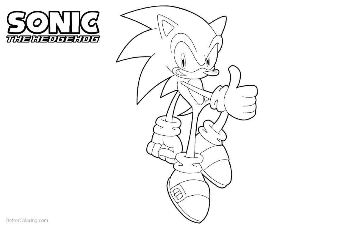 Sonic The Hedgehog Coloring Pages Thumb Up printable for free
