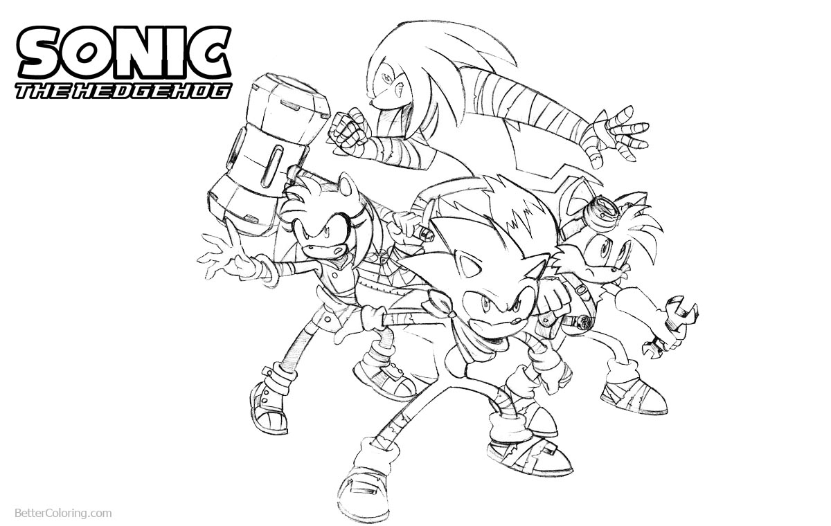 Sonic The Hedgehog Coloring Pages with Friends printable for free
