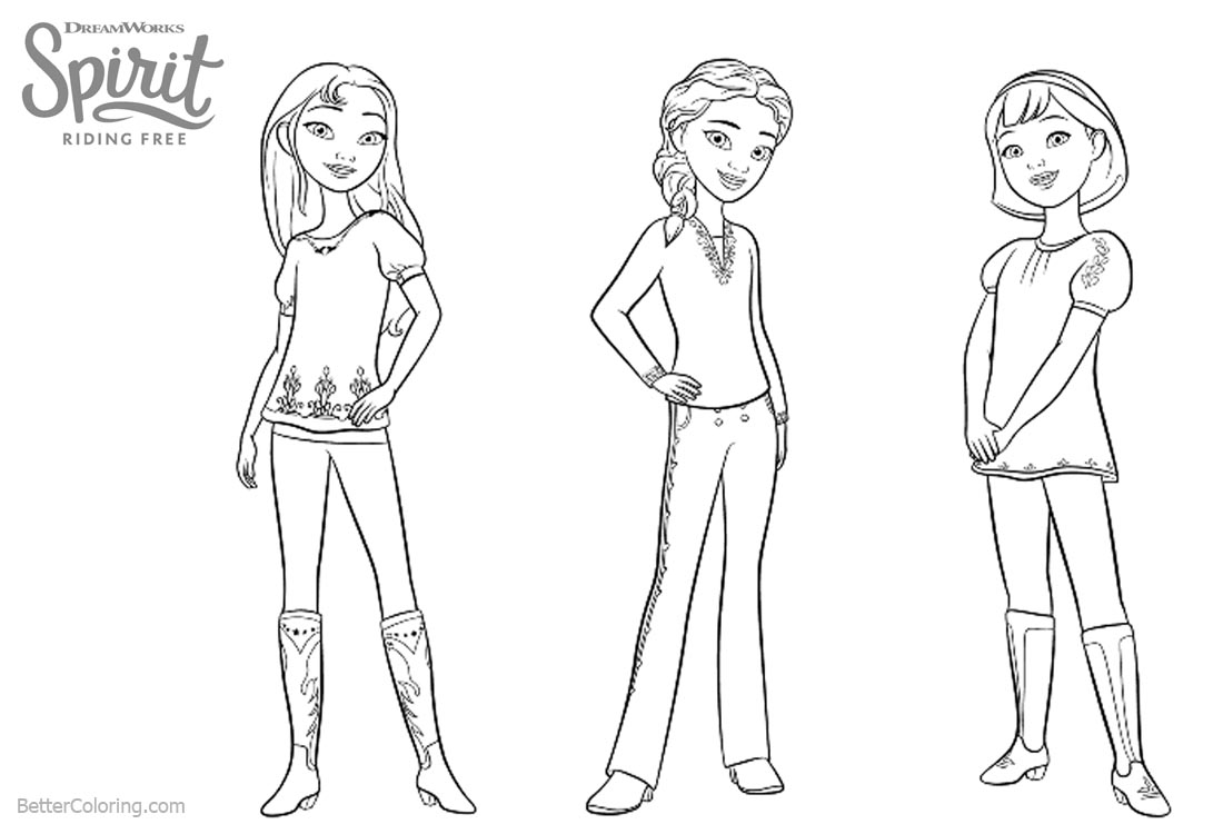 Spirit Riding Free Coloring Pages Characters Girls - Free ...