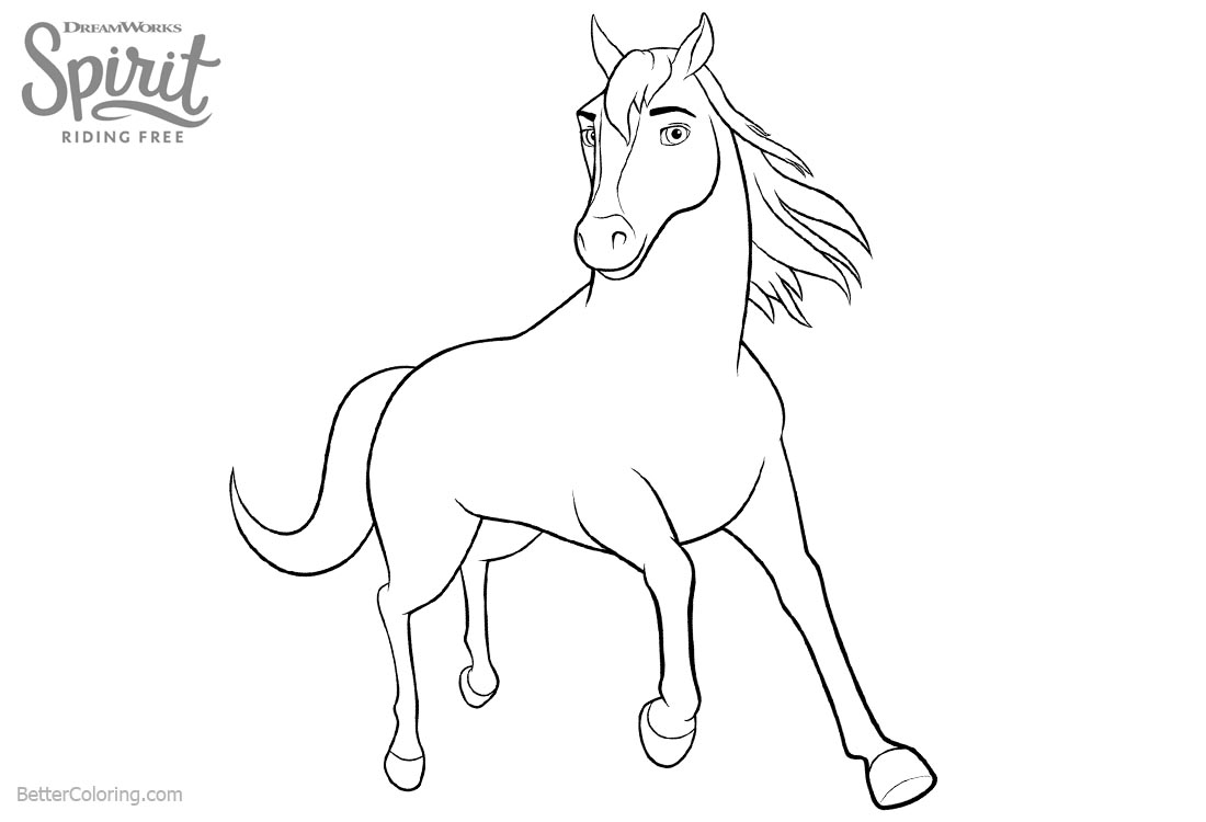 Spirit Riding Free Coloring Pages Clipart printable for free