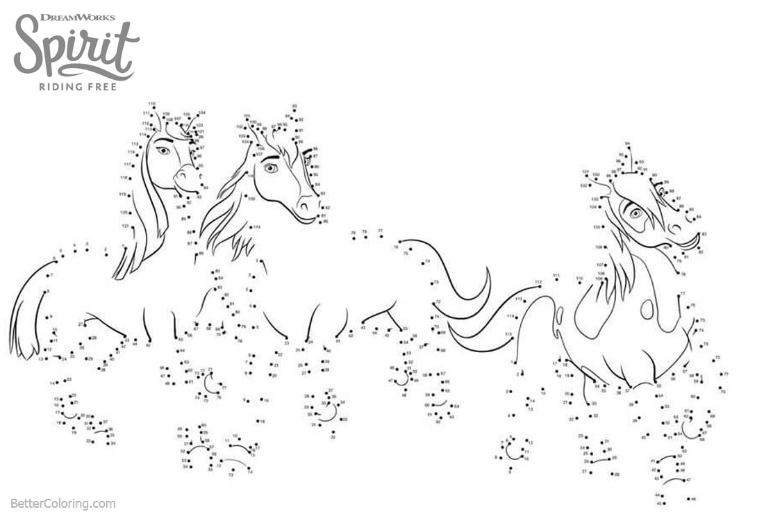 Spirit Riding Free Coloring Pages Connect the Dots Free