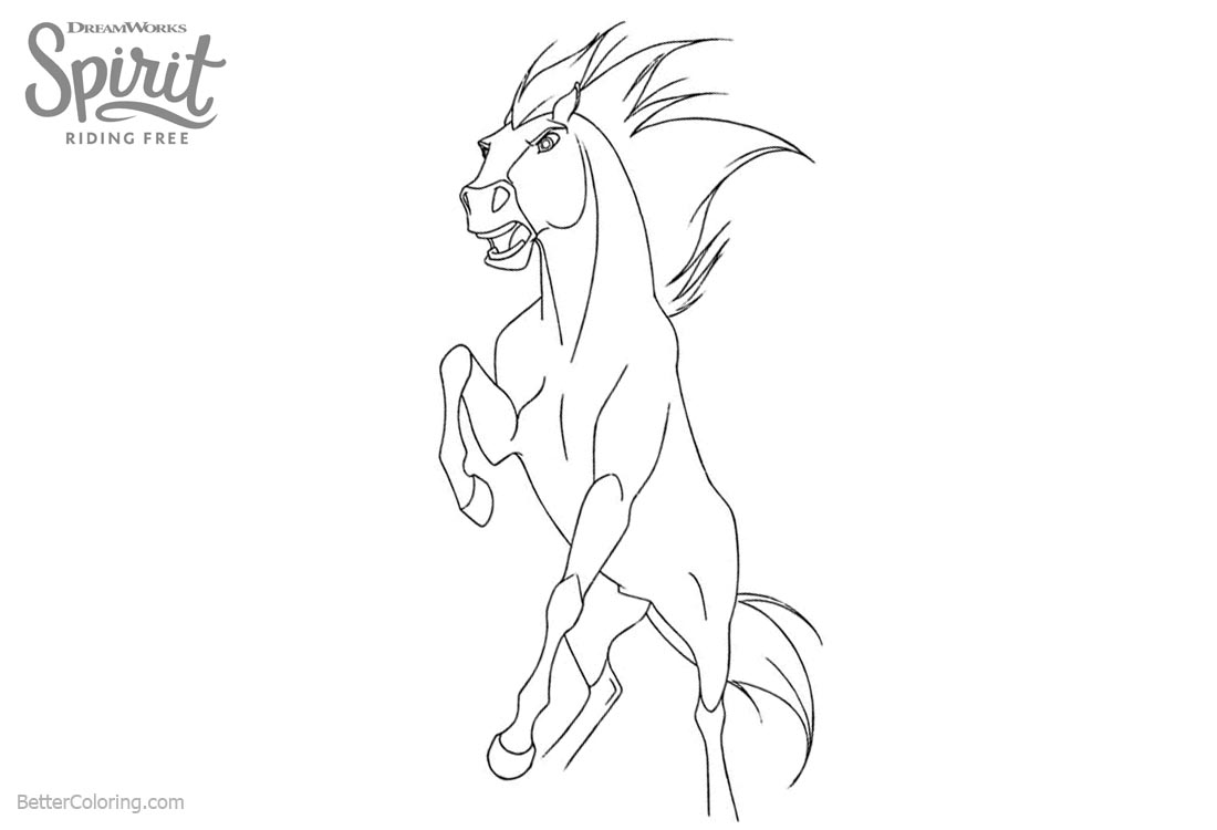 Spirit Riding Free Coloring Pages Horse Clipart printable for free
