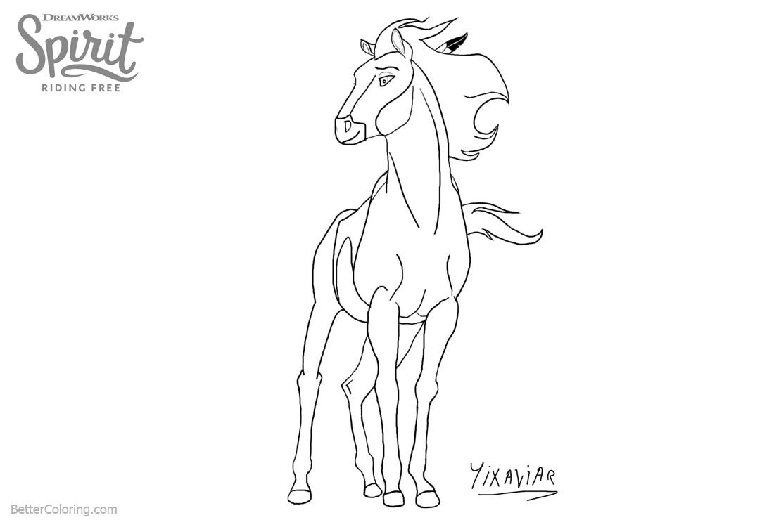 Spirit Riding Free Coloring Pages Horse Fan Art printable for free