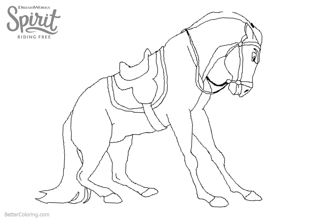 Spirit Riding Free Coloring Pages Horse Line Drawing printable for free