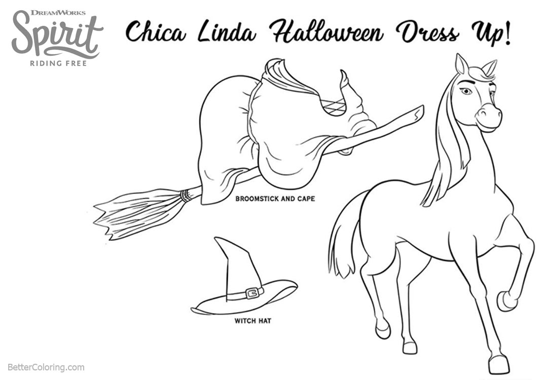 Spirit Riding Free Coloring Pages Linda Halloween Dress Up printable for free