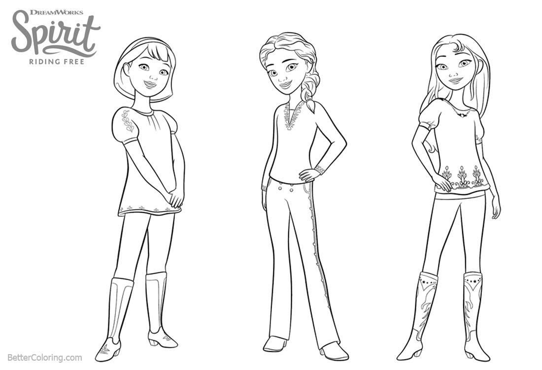 Spirit Riding Free Coloring Pages The Girls printable for free