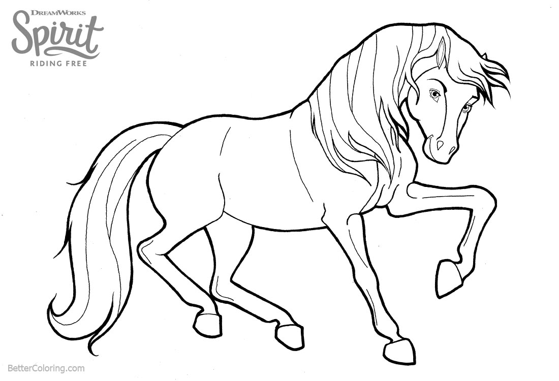 Spirit Riding Horse Free Coloring Pages printable for free